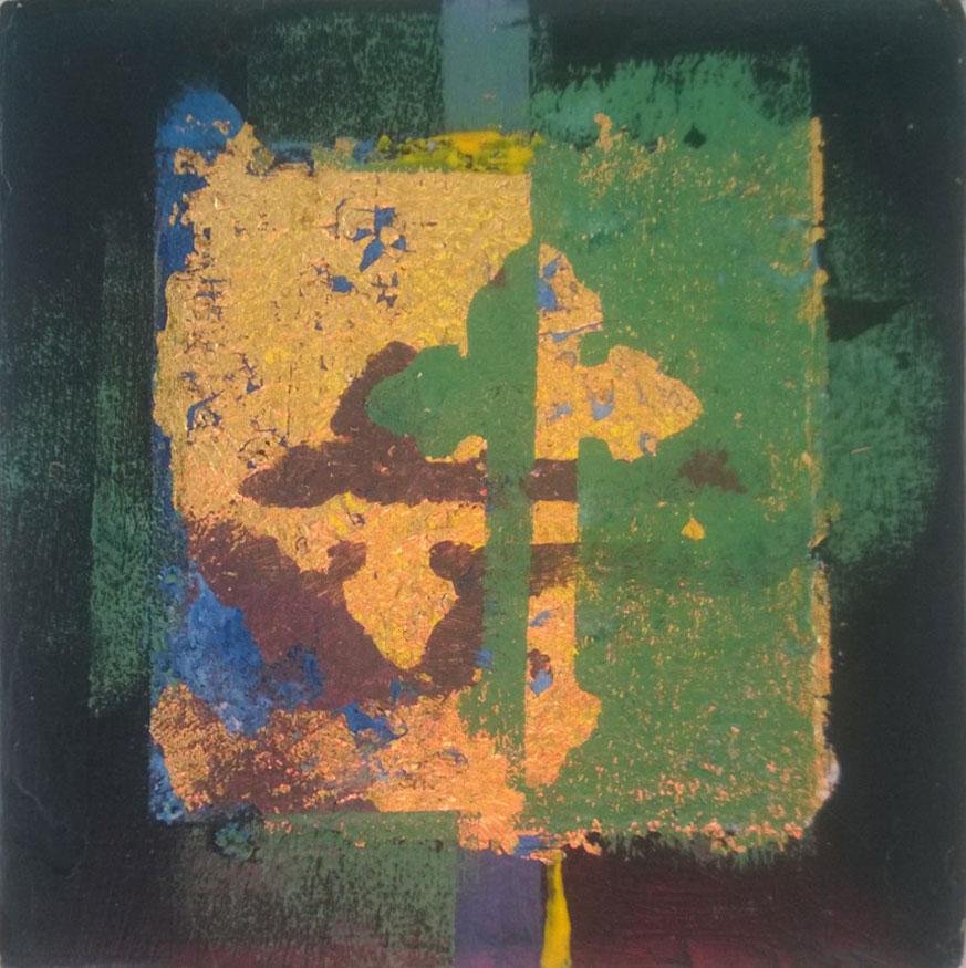 Uden titel. Akryl, kobber, bladguld, litografi og lak. 15x15 cm. Pris 600 kr.