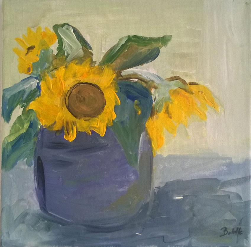 Solsikker i vase. Akryl. 30x30 cm. Pris 600 kr.