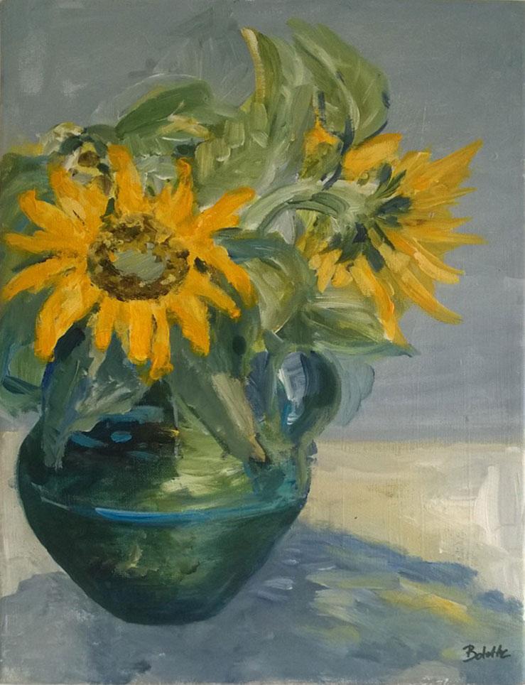 Solsikker i vase. Akryl. 30x40 cm. Pris 1200 kr.